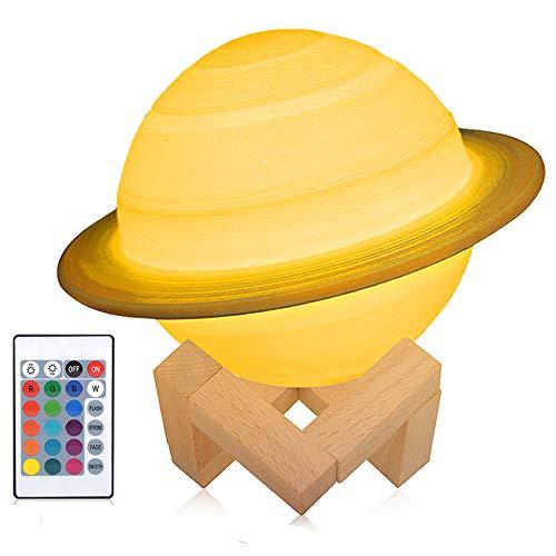 3D Saturn Mond Lampe, wiederaufladbares Nachtlicht, 16 LED Farben, dimmbar, 15cm mit Holzständer, Fernbedienung und Touch Steuerung, Kinderzimmerdekor für Baby Geburtstagsgeschenkideen Frauen