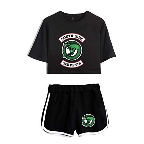 Memoryee Riverdale imprimiendo Camisetas y Pantalones Cortos, Ropa Corta, Traje de Dos Piezas para niñas y Mujeres Ropa Deportiva Suit 2 XS