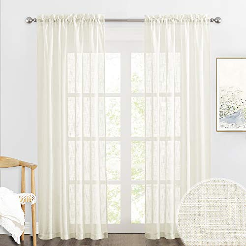 RYB HOME Semi Sheer Curtains - Linen Textured Sheer Curtains Light & Airy Country Curtains Privacy Sheer Window Decor for Bedroom Living Room Sun Room, Natural, W 52 x L 90 inch, 1 Pair