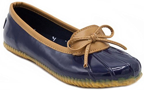 LONDON FOG Womens Webster Rain Shoe Navy 8 M US