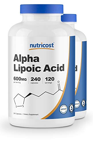 Nutricost Alpha Lipoic Acid - 600mg Serving 240 Caps, (2 Bottles) (Best Treatment For Charley Horse)