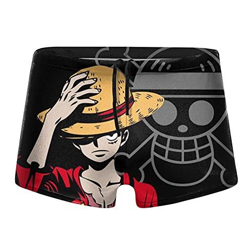 Vbanlya Mono D Luffy - Bañador de una pieza para hombre, traje de baño, pantalones cortos de playa, cinturón elástico de nailon