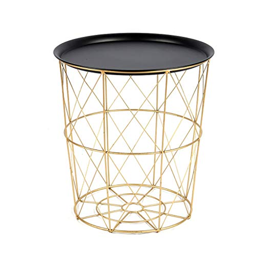 Wasserij mand Modern goud Kleine draad Zijtafel Metalen Koffie Einde Bijzettafel Met - Lift Off Tray