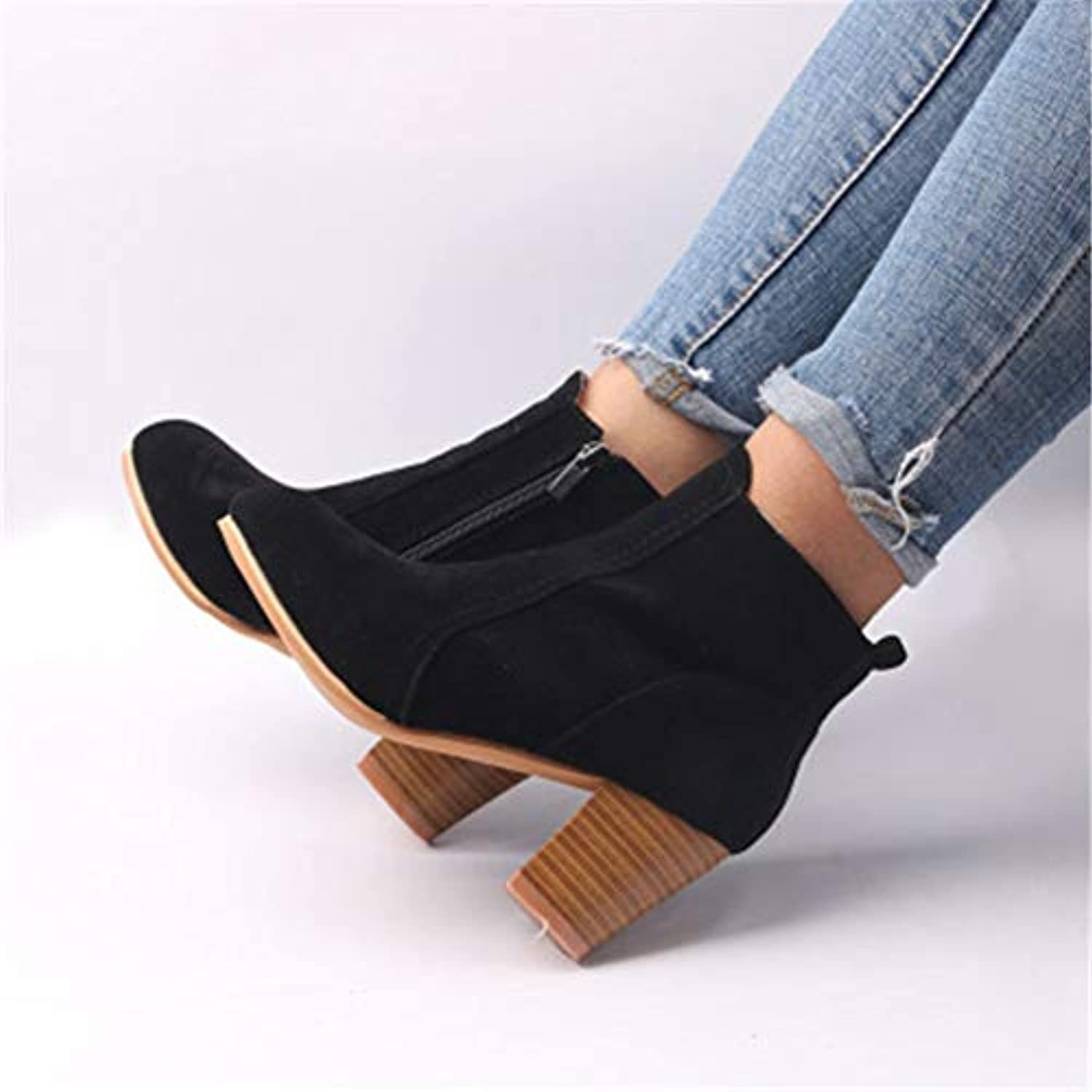 T-JULY Fashion Wild Thick Heel Boots Women with European and American Autumn Winter Martin Boots