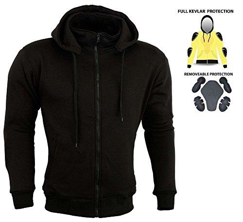 Sudadera con capucha acolchada para motocicleta, protección CE, forro polar Kevlar.