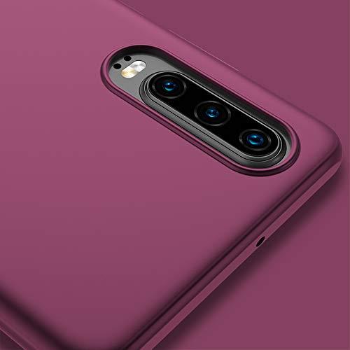 X-level für Huawei P30 Hülle, [Guardian Serie] Soft Flex Silikon Premium TPU Echtes Telefongefühl Handyhülle Schutzhülle Kompatibel mit Huawei P30 6,1 Zoll Case Cover - Weinrot - 5