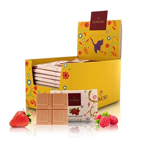 Domori Tabletas de Chocolate Blanco con Frutos del Bosque - Expositor con 24 Mini Tabletas (Tot. 600g)