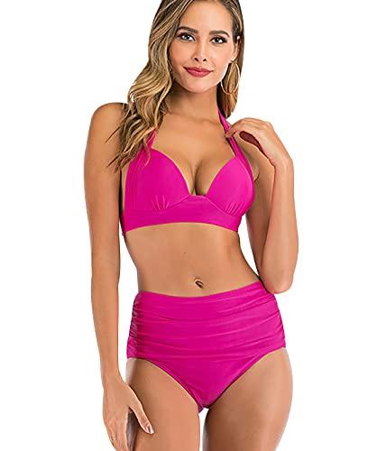 Bikinis Talle Alto Rayas Mujer Push Up Bañadores Mujer Bañador Natacion Mujer Tankini Gordita Conjunto Bikini Flores Playa Cintura Alta Talle Grande Trikini Swimwear Women Traje de Baño Mujer Rosa 2XL