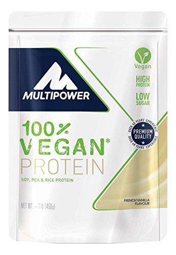Multipower 100% Vegan Protein French Vanilla – 450 g Eiweißpulver – Veganes Pulver für Eiweißshake aus 3 pflanzlichen Proteinquellen – Proteinpulver vegan mit Vitaminen – French Vanilla