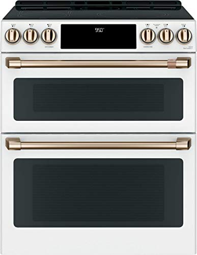 """Cafe 30"""" Matte White Slide-In Double Oven Induction Range"""