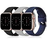 Wepro 3 Stück Armband Kompatibel mit Apple Watch Armband 38mm 42mm 40mm 44mm, Weiche Silikon Ersatz...