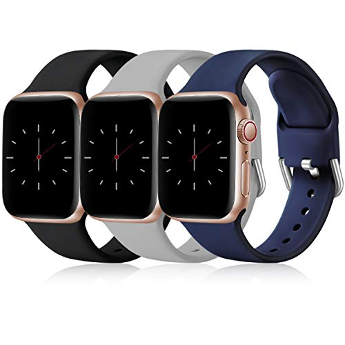 Wepro 3 Stück Armband Kompatibel mit Apple Watch Armband 38mm 42mm 40mm 44mm, Weiche Silikon Ersatz Armband Kompatibel mit iWatch Series 5, 4, 3, 2, 1, 38mm/40mm-S/M, Schwarz/Grau/Blau