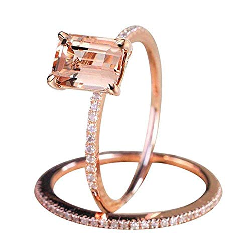 MERSDW Deal Rings European and American Rose Gold and Diamond Two-Piece...