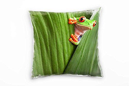 Paul Sinus Art Tiere, Macro, grün, orange, Frosch hinter Blättern Deko Kissen 40x40cm für Couch Sofa Lounge Zierkissen - Dekoration zum Wohlfühlen