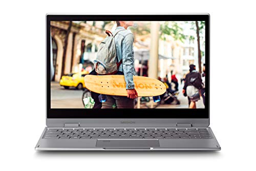 MEDION AKOYA E4271 - Portátil convertible 14' Full HD (Intel Celeron N4000, 4GB RAM, 64GB SSD, Intel UHD Graphics, Windows 10), Color gris - Teclado QWERTY Español