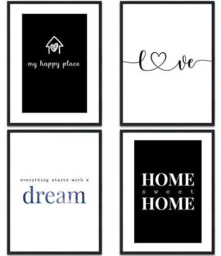 MUUDLY Premium Poster Set, Moderne Wandbilder mit Sprüchen als Wohnzimmer und Schlafzimmer Deko, Sprüche und Zitate, 4x DIN A4 Bilder (Home, ohne Rahmen)