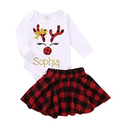 Carolilly Baby Mädchen Christmas Weihnachten Langarm Strampler mit Rentier Buchstaben + Kurzer Rock Kleid mit Plaid Süß Weich Modisch (rotes Plaid, 0-6 Monate)
