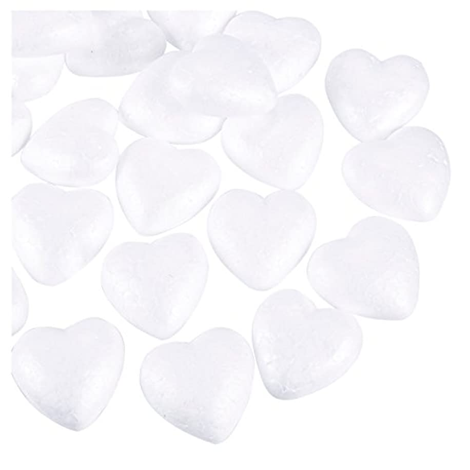 Craft Foam Hearts - 36-Piece Heart-Shaped Polystyrene Foam Ball for Arts and Craft Use, DIY Ornaments, Wedding Decorations, White, 1.9 x 1 x 1.9 inches