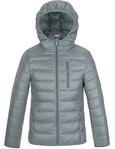 Wantdo Boy's Water-Resistant Bubble Jacket Lightweight Down Coat Grey 10/12