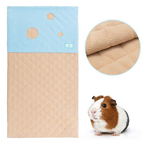 Fleece Liner for Guinea Pig Cage with Burrowing Pocket, Anti Slip Guinea Pig Bedding, Super Absorbent Pad