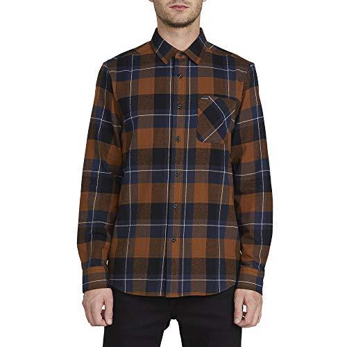 Volcom Herren Caden Plaid L/S Button Down Hemd, Braun, Mittel