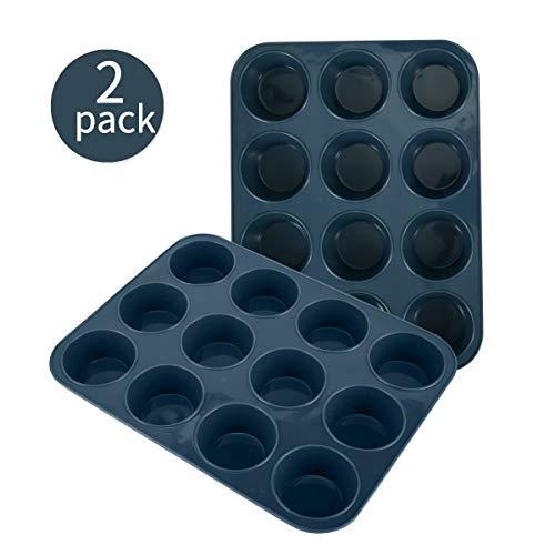 SUPER KITCHEN 2 Stück Große Muffinform aus Silikon für 12 Muffins, Antihaft Muffinblech Antihaftbeschichtet Backblech Backform für Cupcakes, Brownies, Kuchen, Pudding 33 x 25 x 3 cm (Grau)