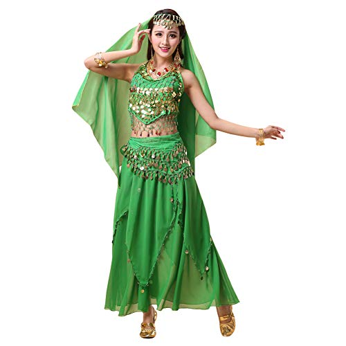 Xinvivion 4 Piezas Mujer Señoras Danza del Vientre Profesional Conjunto de Vestuario Danza India Rendimiento Outfit Traje (Verde Oscuro,Ajuste 35-45 KG)
