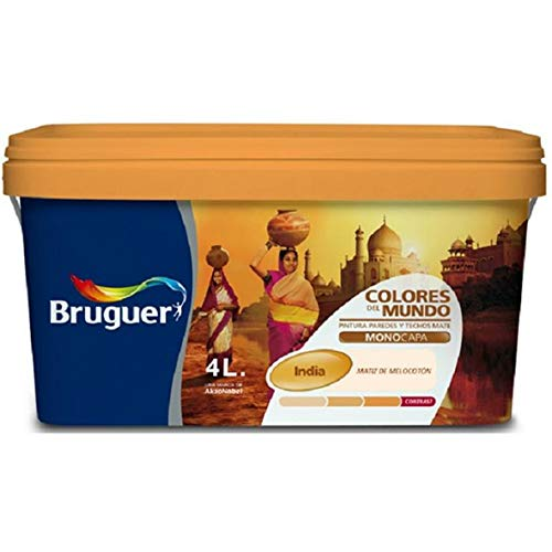 bruguer 106171 Pintura paredes y techos, India melocotón natural, 4 litros