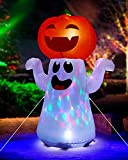 Zukakii 5Ft Halloween Decorations Inflatable Pumpkin Ghost Built-in 360° Rotating Magic Colorful Led Lights, Halloween Blow Up Cute Decor Clearance for Indoor Outdoor Home/Holiday/Party/Yard/Lawn