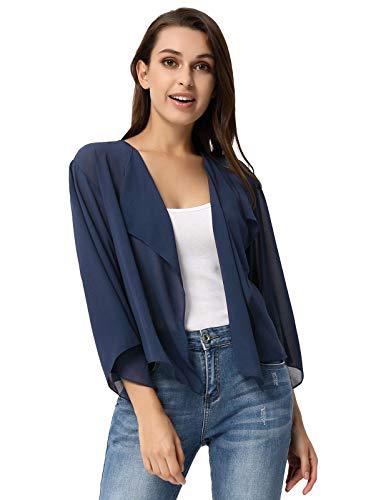Damen Leichtes Langarm Shirt Durchsichtiges Bolero mit Chiffon Bolero Marineblau XXL