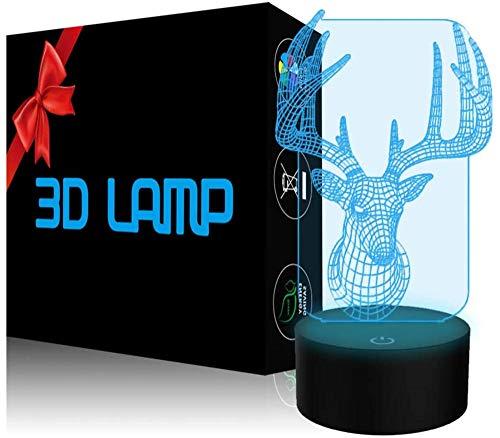 Lámpara de ilusión 3D, luz nocturna con controlador de ciervos, 16 colores cambiantes de ilusión óptica con acrílico plano, base ABS, cable USB para vacaciones