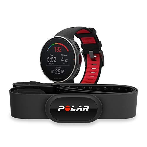 POLAR VANTAGE V – Premium GPS Multisport Watch for Multisport & Triathlon Training (Heart Rate Monitor, Running Power, Waterproof), Titan Pro (Includes H10 HRM Chest Strap), Black / Red