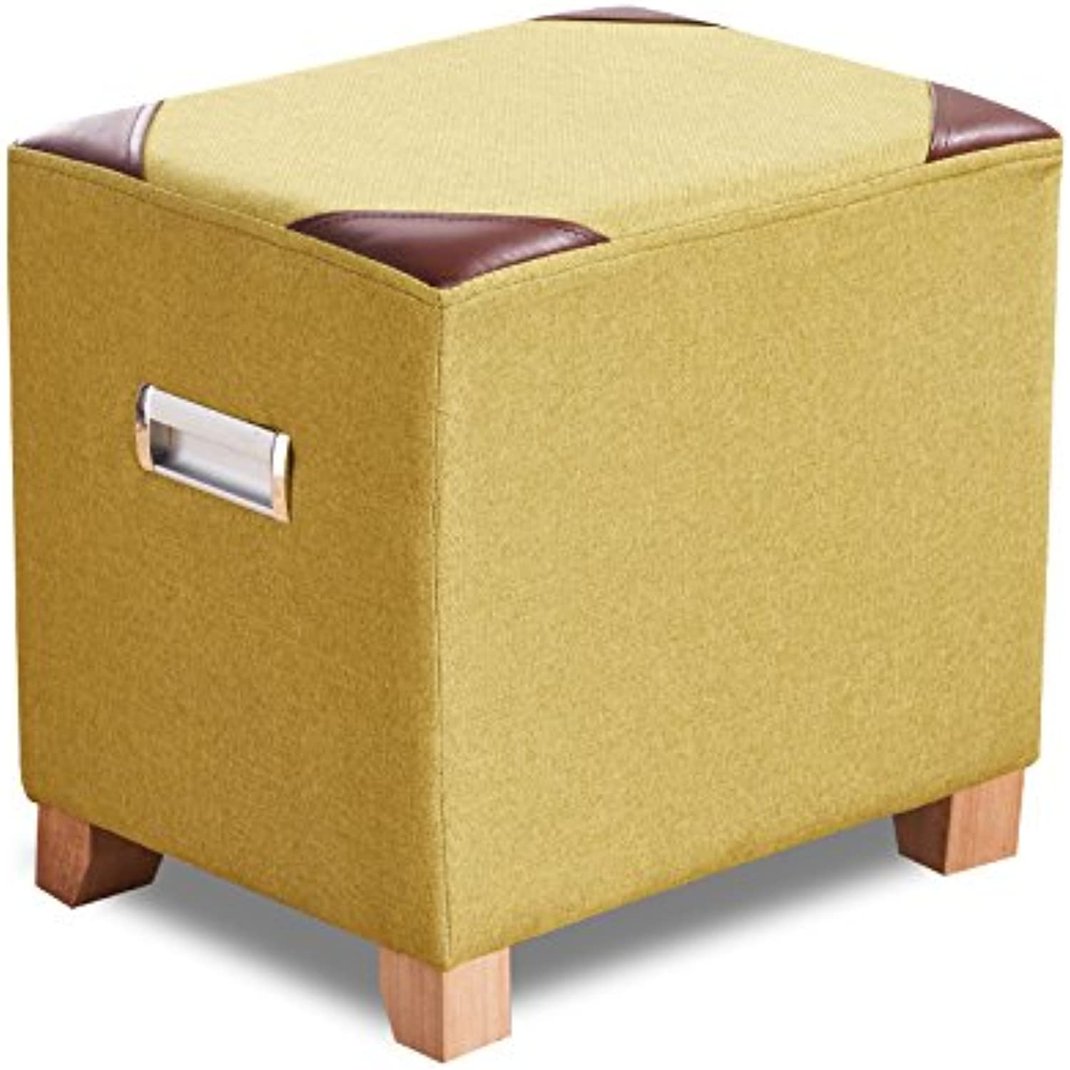 Solid Wood shoes Stool Creative Sofa Stool Fashion Home Stool Fabric Stool Stool Makeup Stool Double Handle 0522A (color   Yellow)