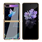 SGVAHY Case Design Samsung Galaxy Z Flip,Elegant Chinese Style Pattern Smooth Glass Hard Back Cover with Glitter Gold Bumper Ultra-Thin Protective Case for SM-F7000 5G (Butterfly, Galaxy Z Flip)