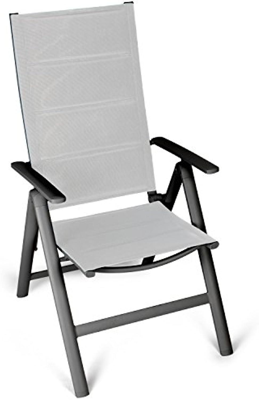 Vanage gepolsterter Gartenstuhl in grau - Klappstuhl im 2er Set - Hochlehner - Klappsessel - Gartenmbel - Stuhl für Garten, Terrasse und Balkon geeignet