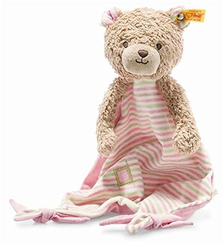 Steiff 242168 Teddybär Rosy Schmusetuch, Kuscheltuch 28 cm, Spielzeug für Babys und Kleinkinder, rosa