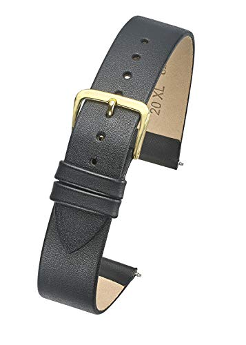 ALPINE Genuine thin leather watch band – flat slim leather watch strap in Extra Long Length for WIDER WRISTS ONLY- Black, Brown in Sizes 12XL, 14XL, 16XL, 18XL, 20XL (fits wrist sizes 7 1/2 to 9 inch)