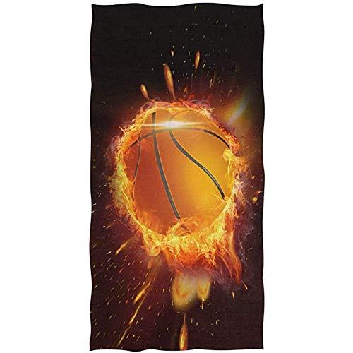 PageHar Toalla de Playa, Basketball On Fire SPA Towels, Toallas de Playa de Secado rápido para Mujeres para la decoración del hogar
