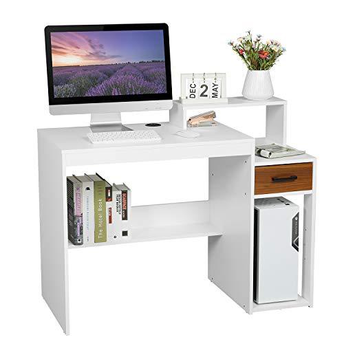 Itaar Compact Computertisch Studientisch Moderne einfachen Stil hölzerne Studie Workstation, Home-Office-Schreibtisch mit Lagerung Regale und Schublade für Schlafzimmer (weiß)