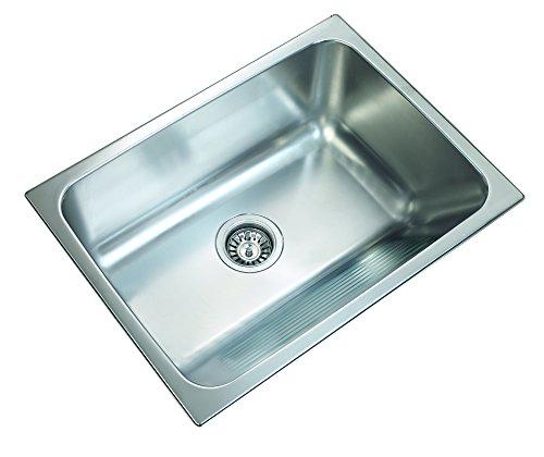 Ukinox D610.457 Modern Dual Mount Single Bowl Stainless Steel Laundry Sink, 24Wx18Lx10 deep, Silver