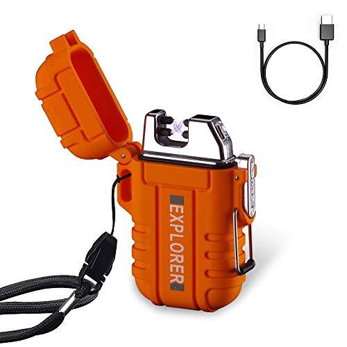 Briquet à double arc plasma USB rechargeable sans flamme étanche et coupe-vent Mini briquet électrique pour bougie BBQ Activité sauvage en plein air