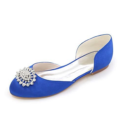 LGYKUMEG Bailarinas de Punta Redonda para Damas, Pisos de Boda de satén para Damas, Zapatos de Novia Cuadrados de Punta Redonda con Diamantes de imitación,05,EU44