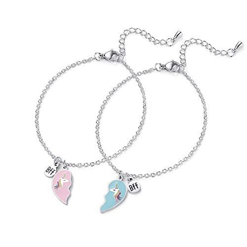 Unicorn Bracelet 2pcs Best Friend BFF Heart Jewelry Christmas Birthday Gift for Friends or Sister