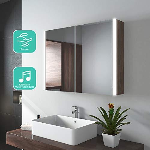 EMKE LED Badspiegelschrank 80 x 60 x 15 cm Spiegelschrank Badspiegel mit Beleuchtung Badschrank mit Doppelseitiger Spiegel, Sensor Schalter, Bluetooth, Walnuß