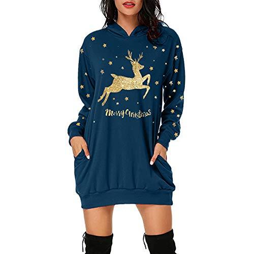 O'vinna Weihnachten Pullover Kleid, Damenmode Kapuzenpullover Christmas Sweatshirt,...