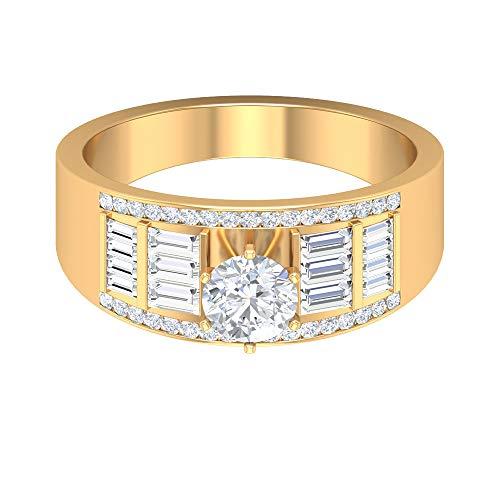 Joyas Rosec??? Anillo de compromiso ancho, anillo solitario con diamante HI-SI de 1,13 quilates, anillo lateral, 14K Oro amarillo, Size:EU 51