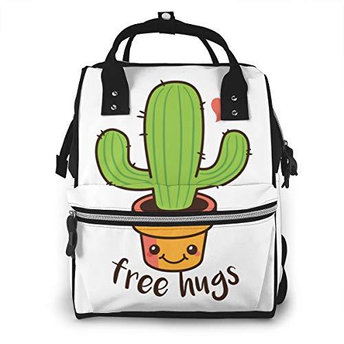 Iop 90p Cute Free Hugs Cactus Plant Multi Function Travel Mummy Backpack Diaper Bag Shoulder Bag