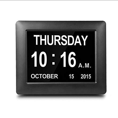 Mubgo wandklokken zwarte dagklok digitale kalender met extra grote, niet afgekorte datum- / tijdweergave voor senioren met geheugenverlies bij dementie