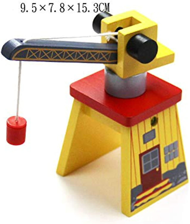 Generic EDWONE All Crane Track One Set Move Crane Tender Wooden Train Collectable Toy Railway Accessories for Thomas Brio Crane 9