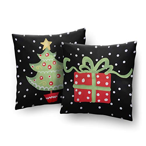 Christmas Pillow Cover Cushion Case with Decorations of Christmas Tree and Red Gift Package 18 x 18 Inch Set of 2